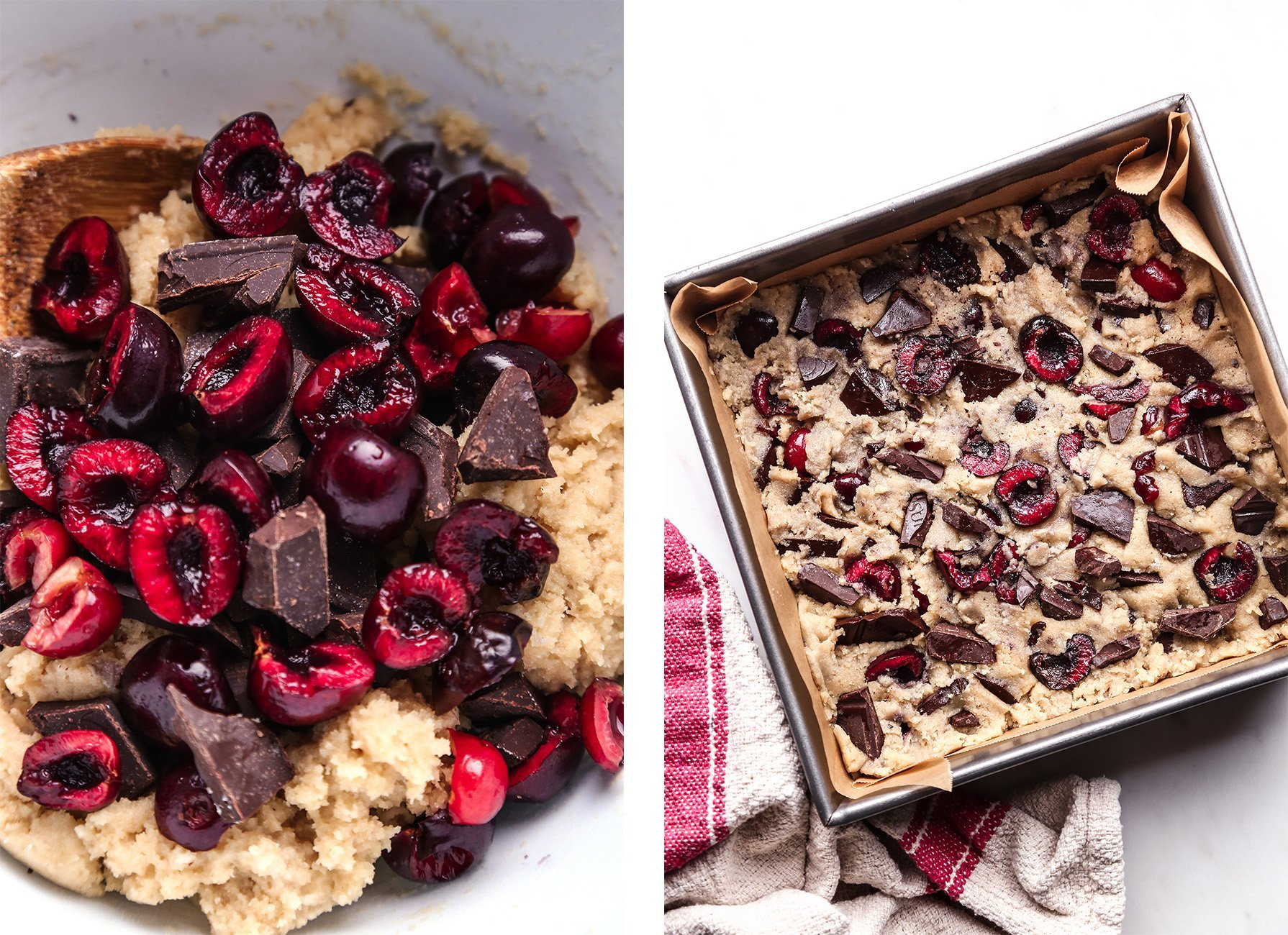 Cherry Chocolate Chip Bars | Vegan friendly and free of gluten and refined sugar.