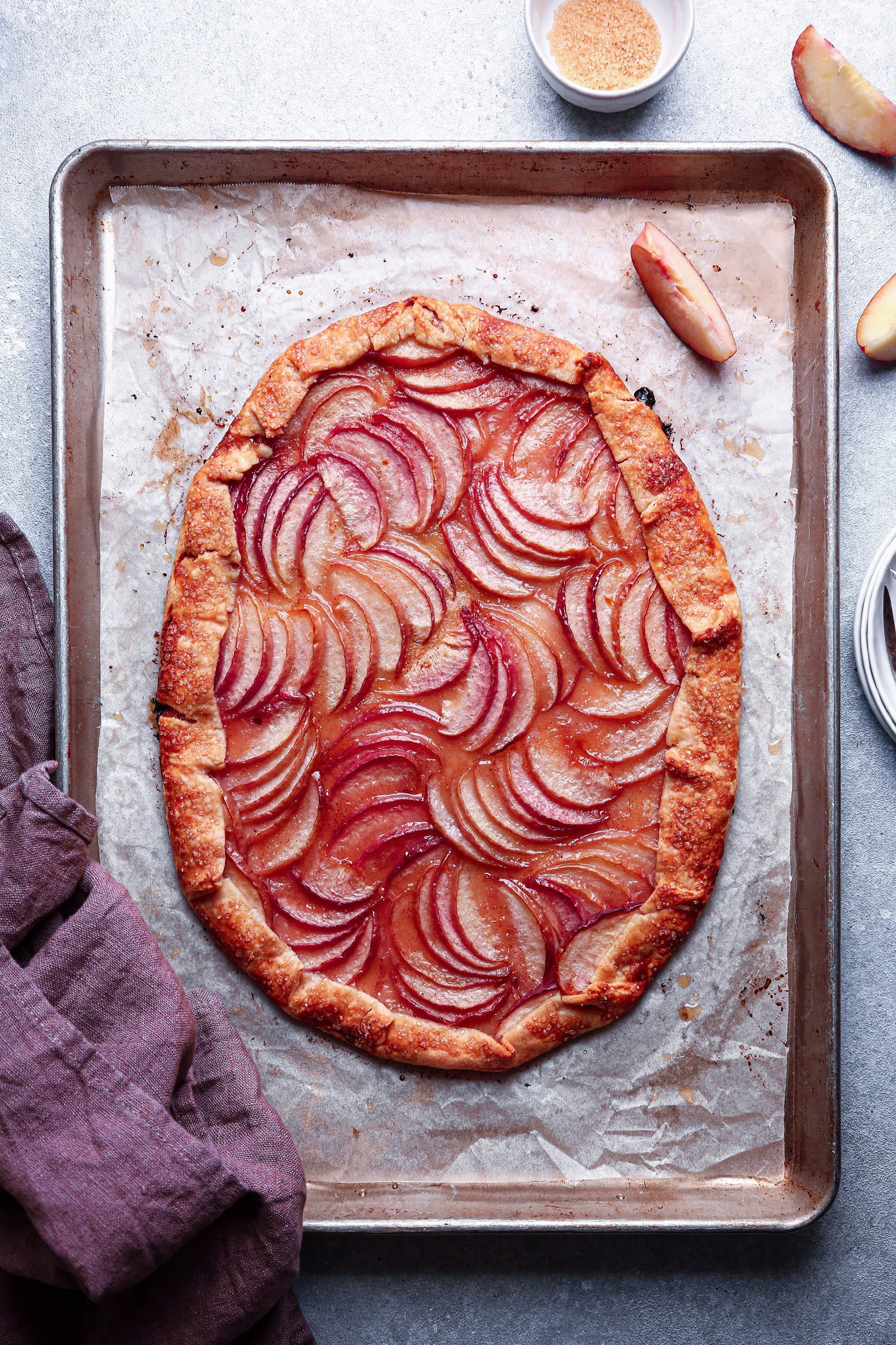 Peach Galette | Vegan friendly and refined sugar free with gluten-free option.