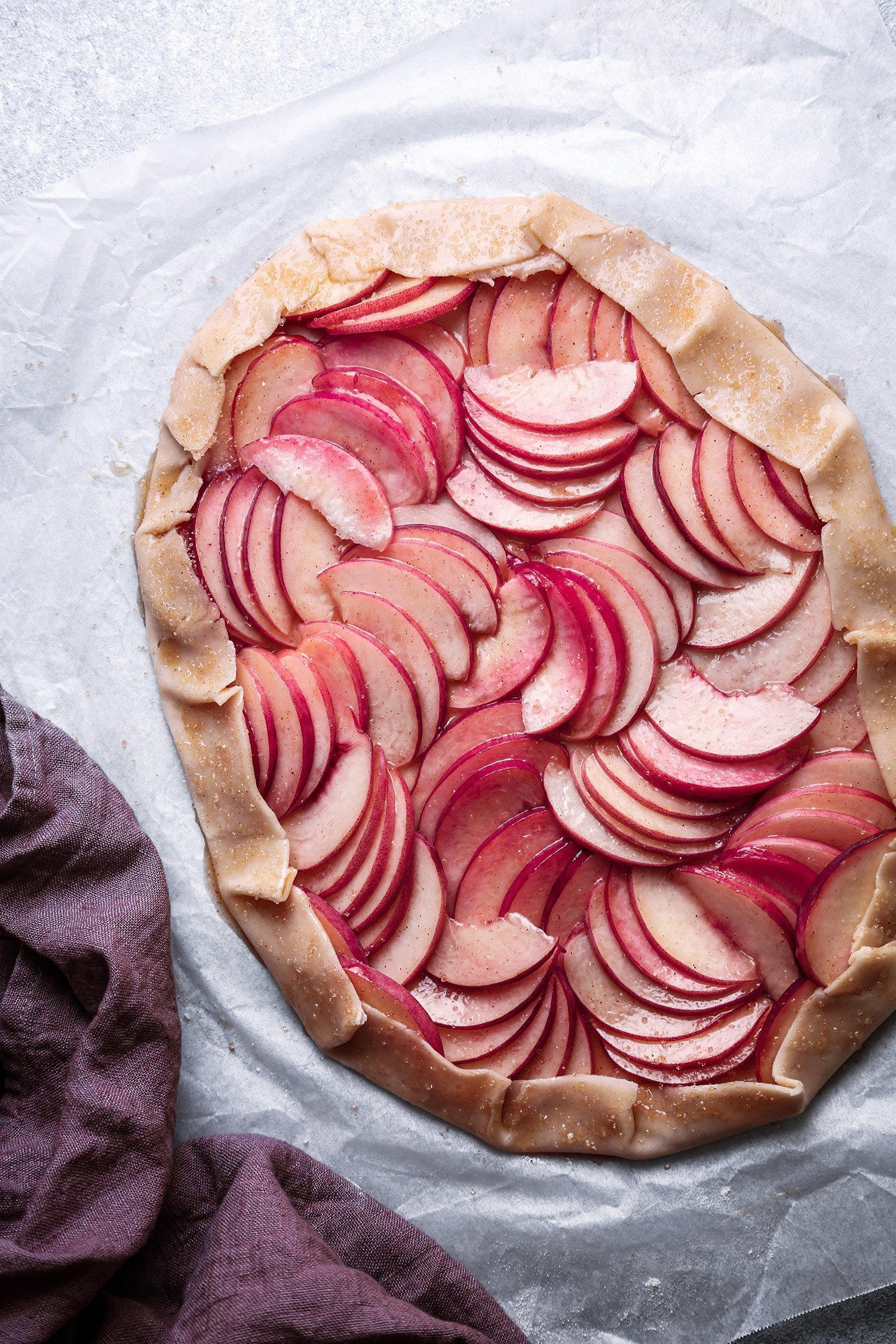 Easy Peach Galette | Vegan friendly and refined sugar free with gluten-free option.