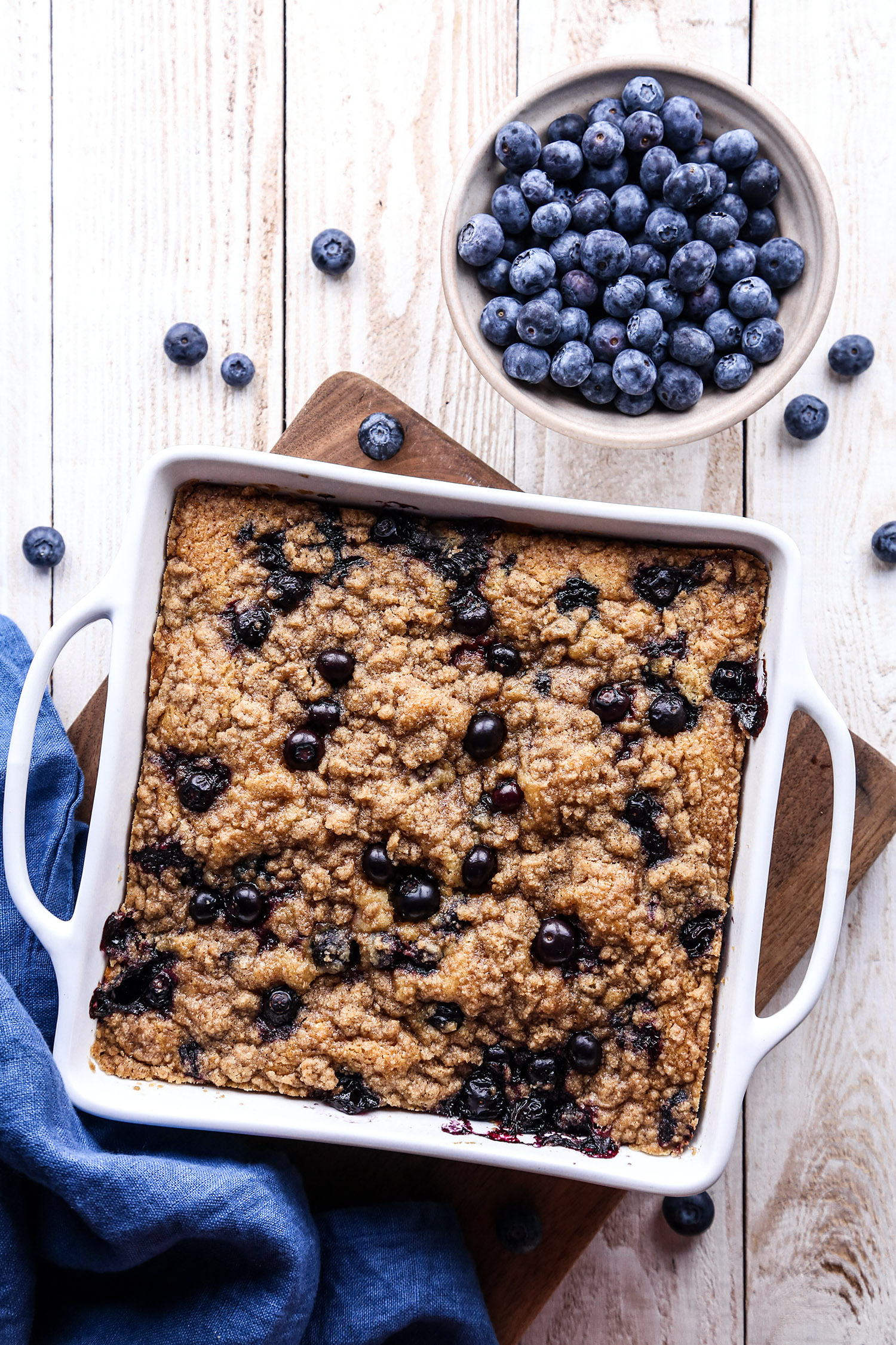 Blueberry Buckle | Vegan friendly with gluten and refined sugar free options.