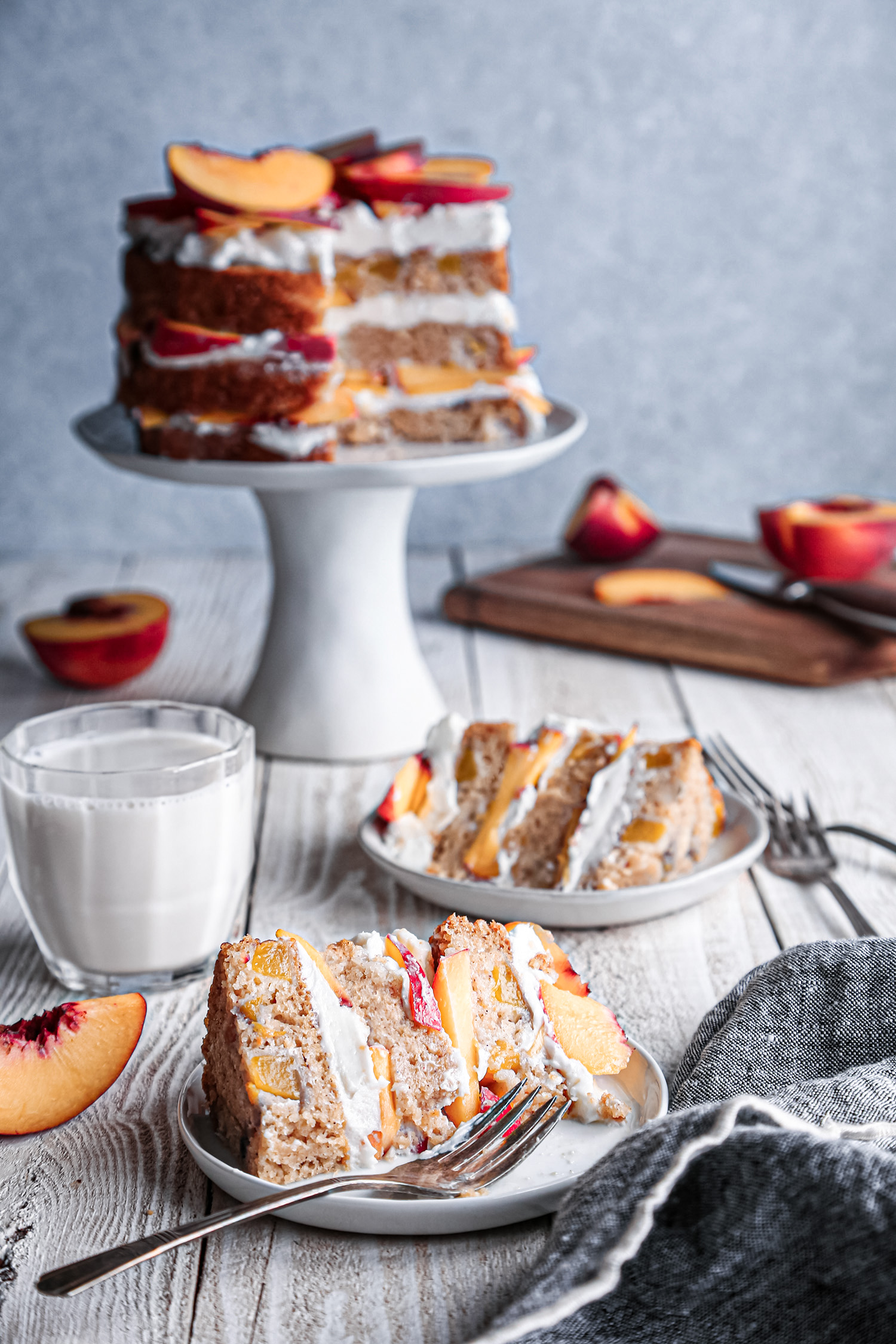 Peaches and Cream Layer Cake | Vegan friendly with gluten free and refined sugar free options.