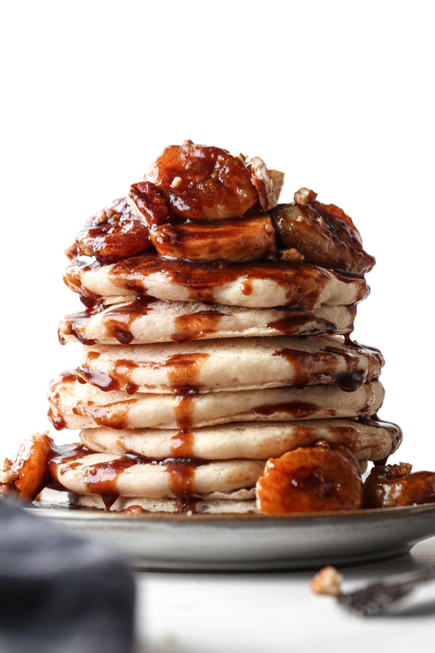Bananas Foster Pancakes | Vegan friendly and refined sugar free with gluten free option.