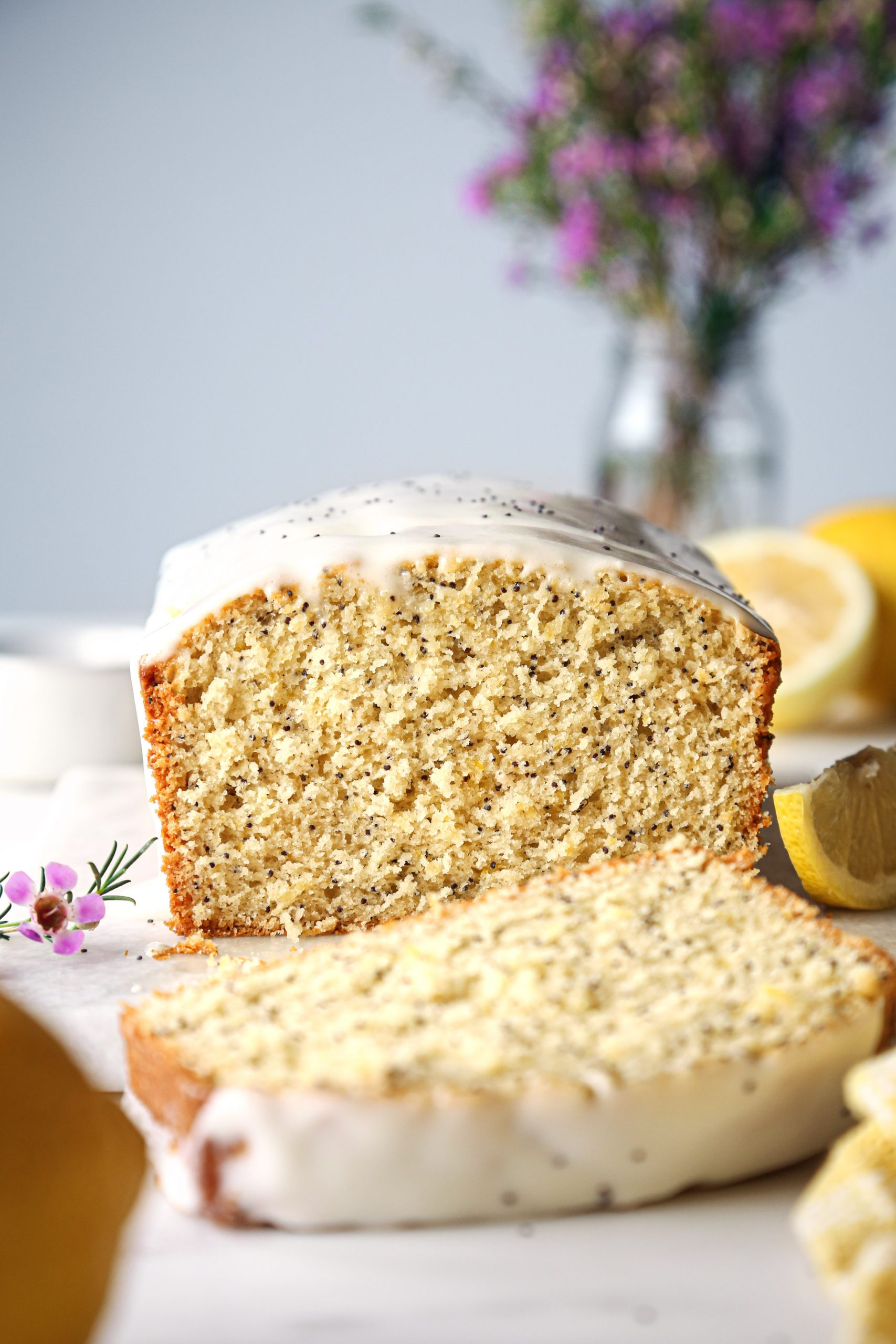 Lemon Poppy Seed Loaf with Cream Cheese Glaze | Vegan with Gluten and Refined Sugar Free Options.