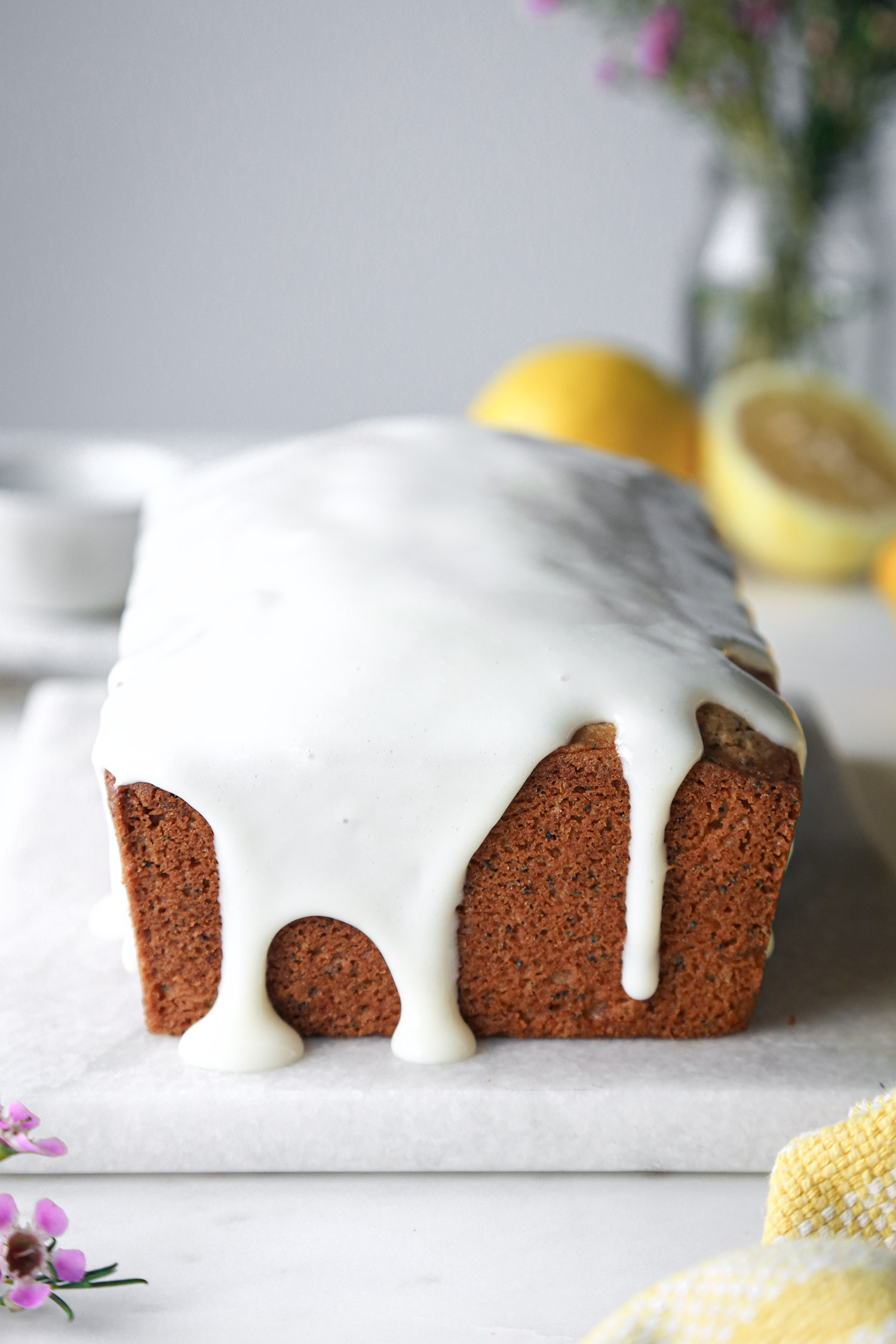 Lemon Poppy Seed Loaf with Cream Cheese Glaze