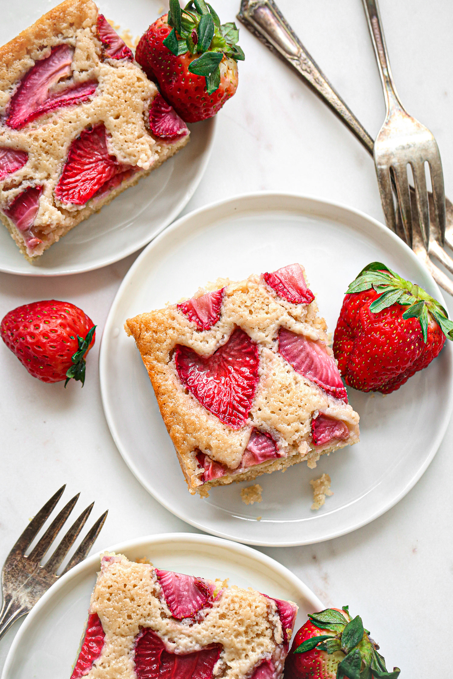 Vegan Strawberry Snack Cake Slices | Gluten-Free option included