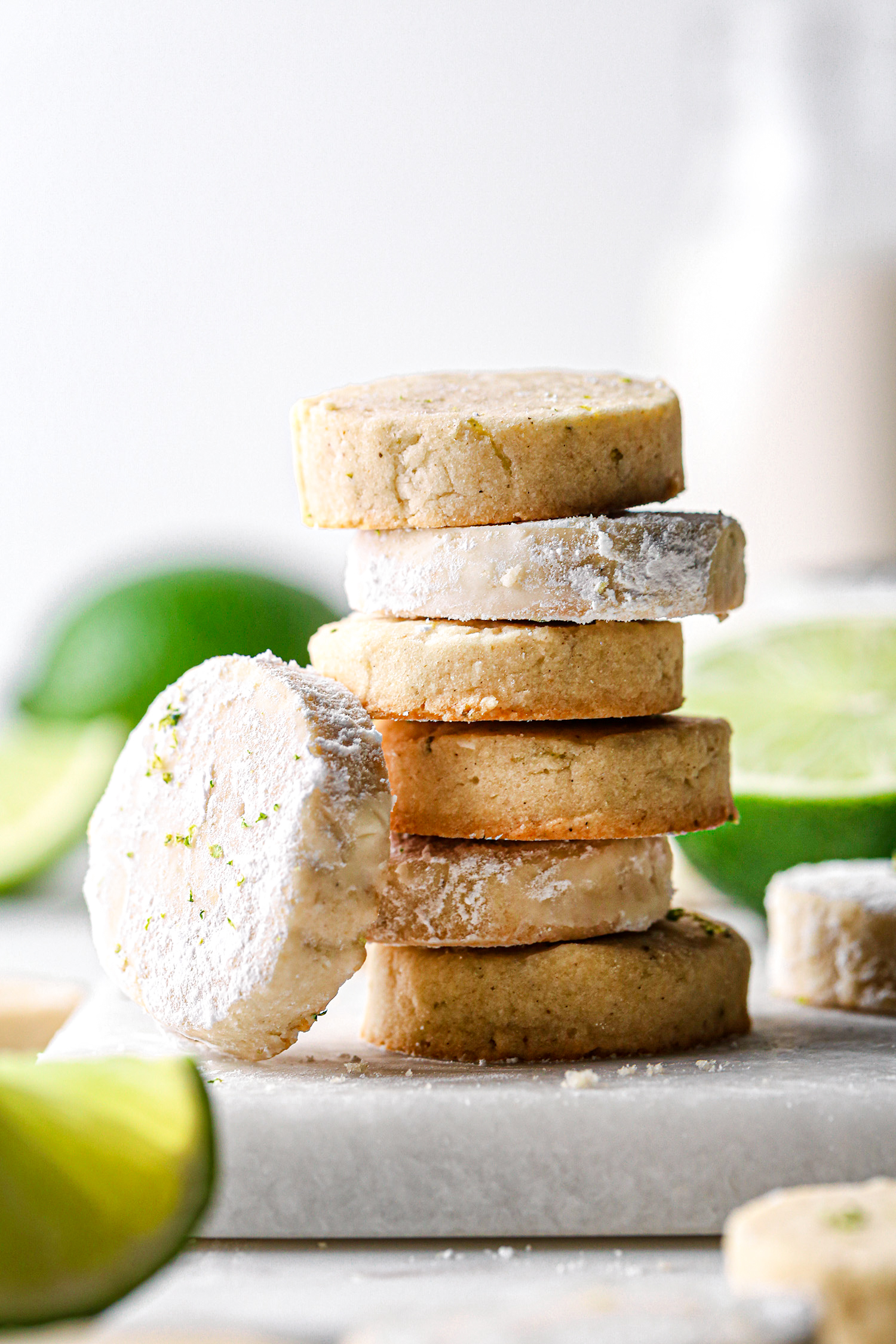 Lime Shortbread Cookies Stacked | Vegan friendly with gluten and refined sugar free option