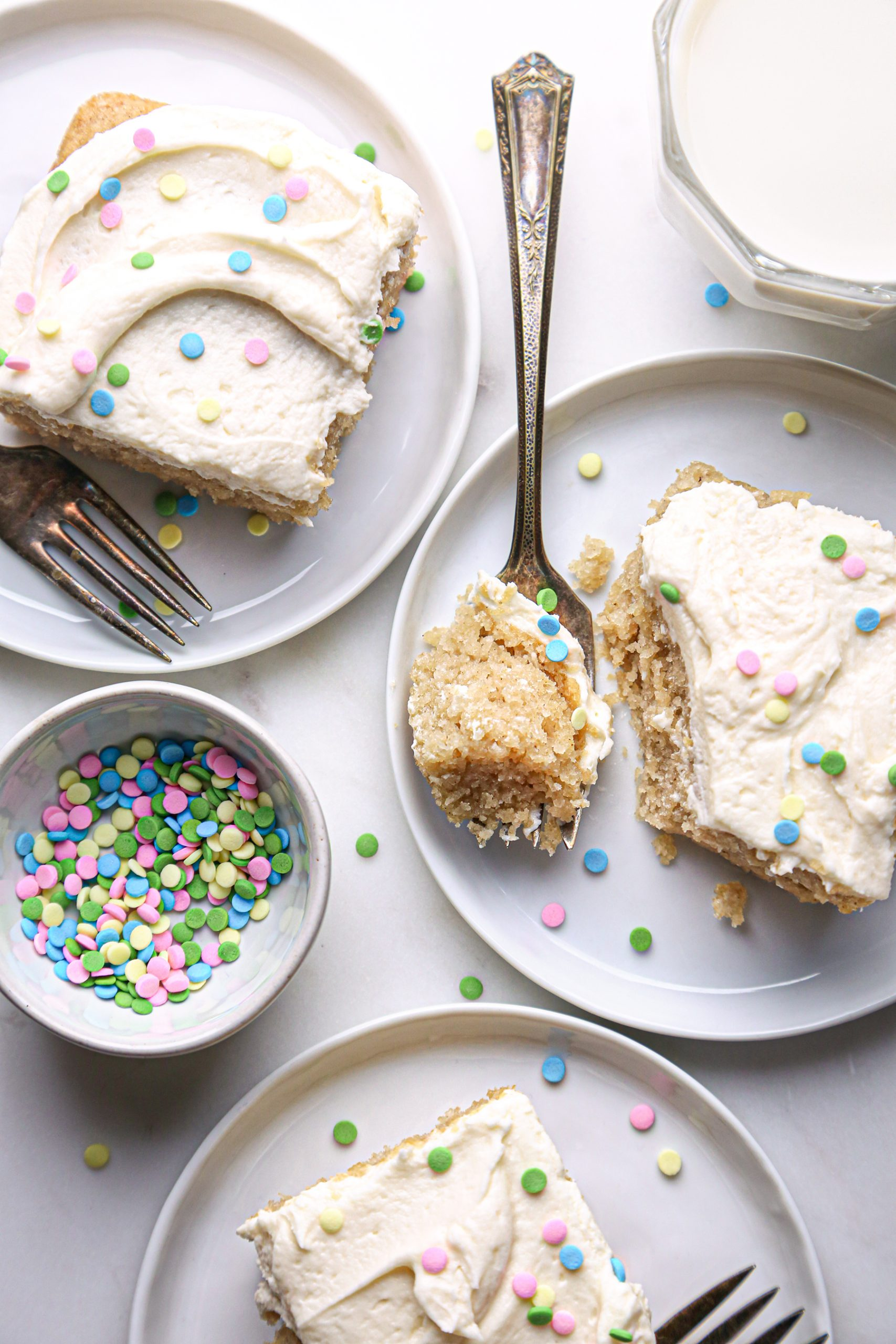 Easy Vanilla Cake with Vanilla Buttercream Slices with Sprinkles | Vegan Friendly with Gluten Free Option
