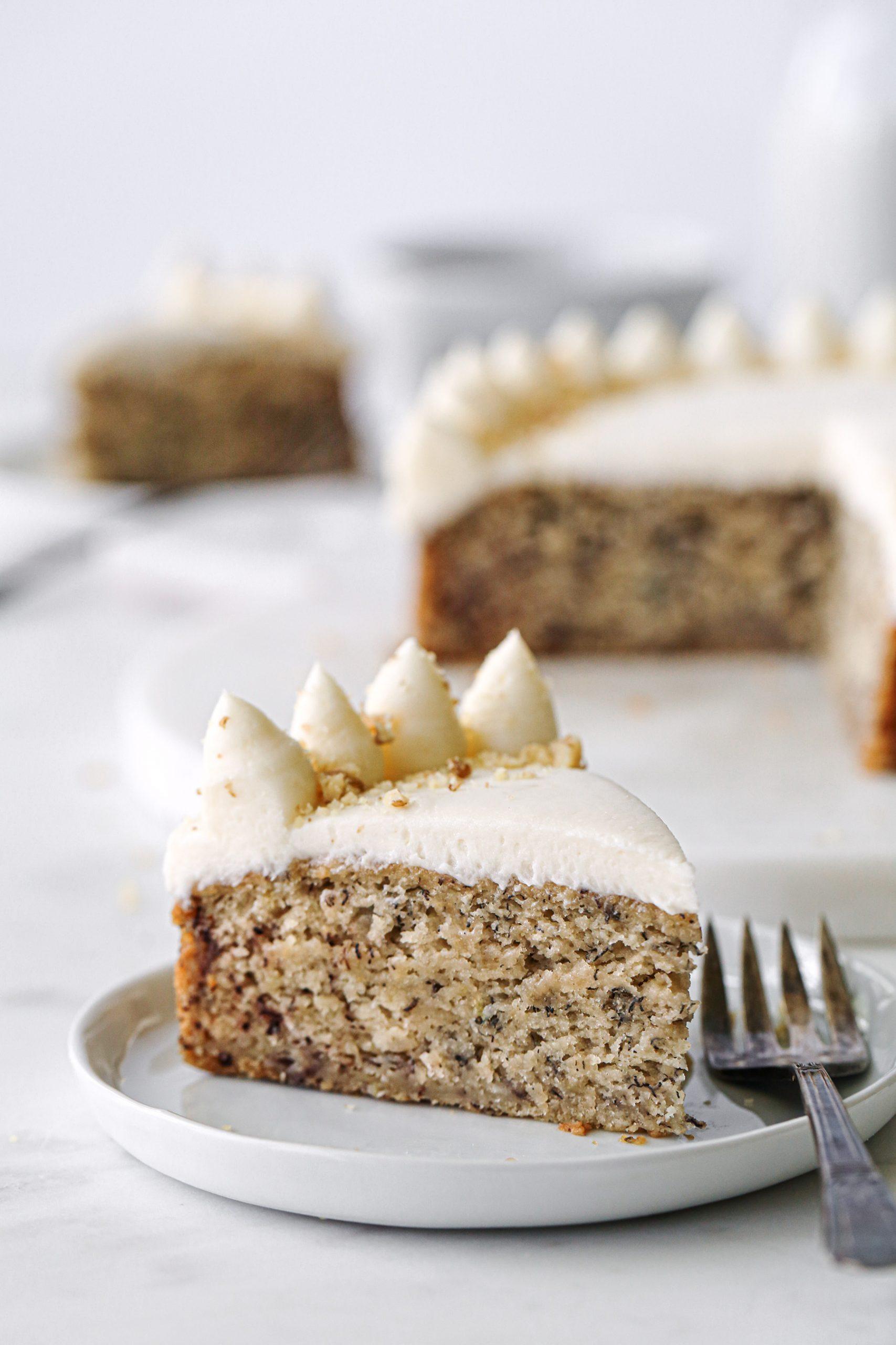 Easy Banana Cake Slice Close Up | Wife Mama Foodie