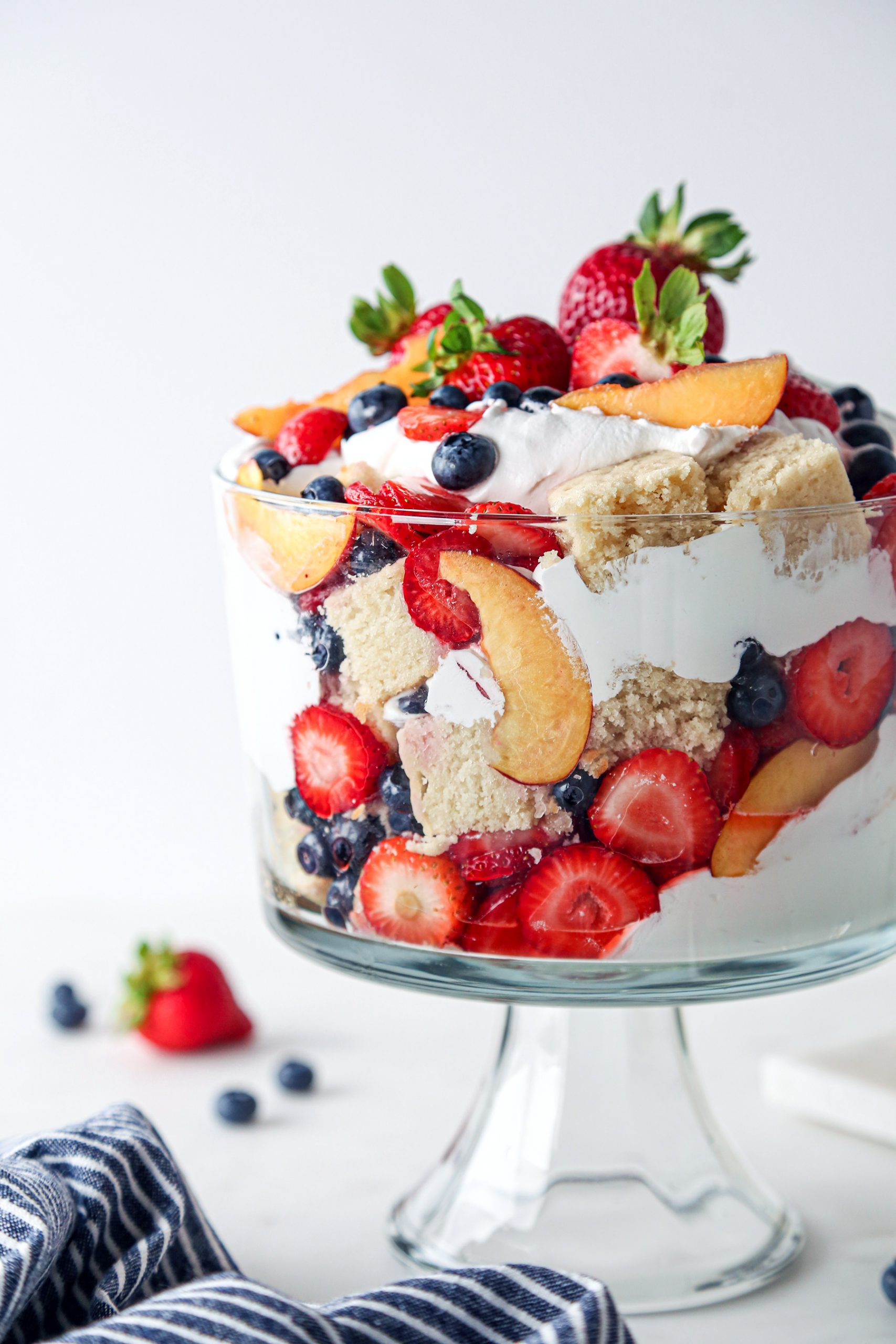 Summer Fruit Trifle Close Up | Easy to make and vegan friendly. Includes gf option as well!