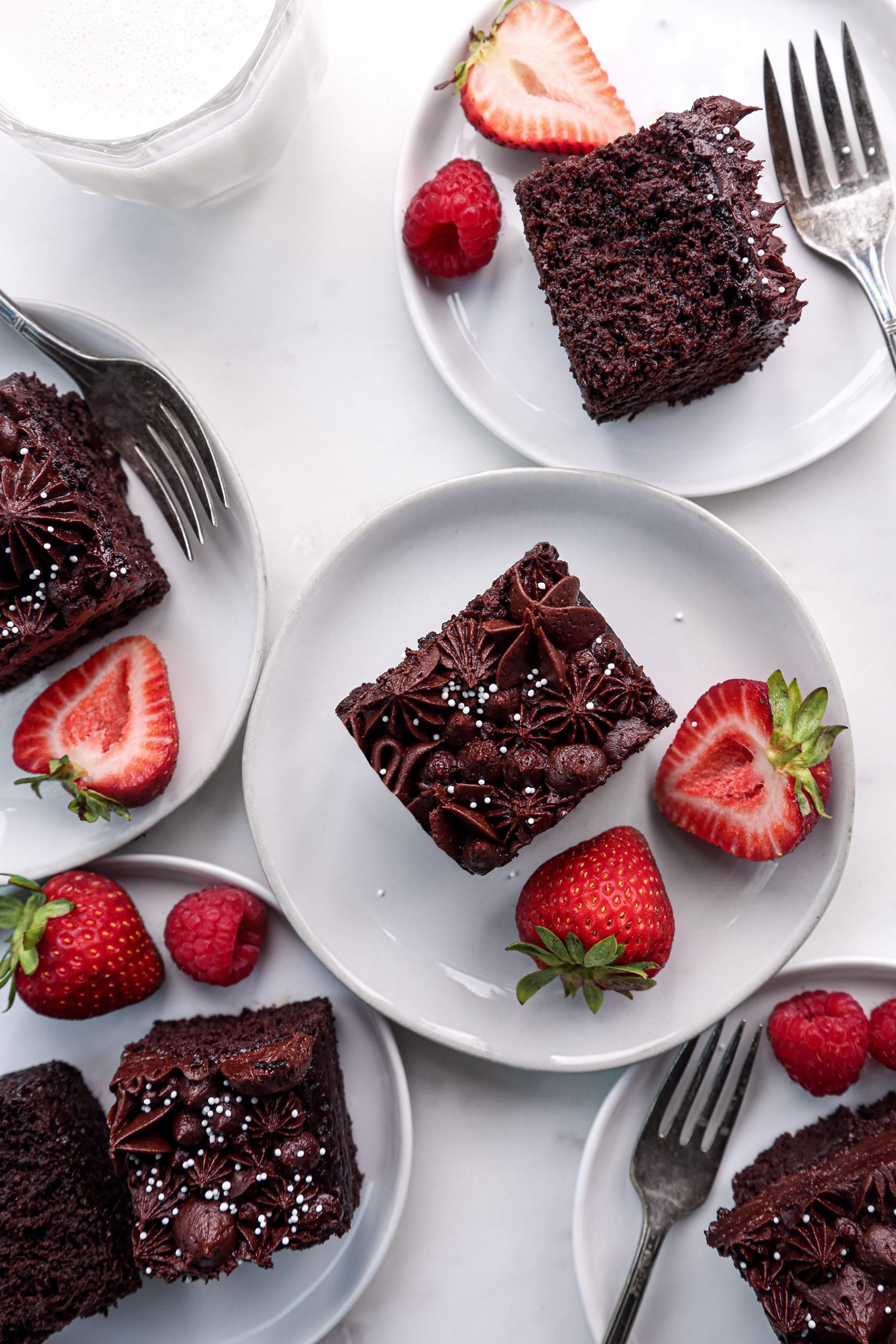 Chocolate Snack Cake Slices with Chocolate Buttercream with Berries | Vegan with Gluten Free Option