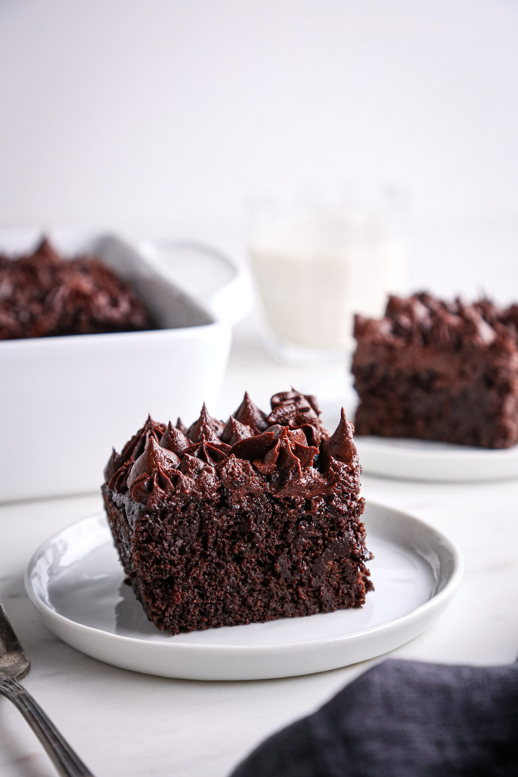 Chocolate Snack Cake Slices with Chocolate Buttercream | Vegan with Gluten Free Option