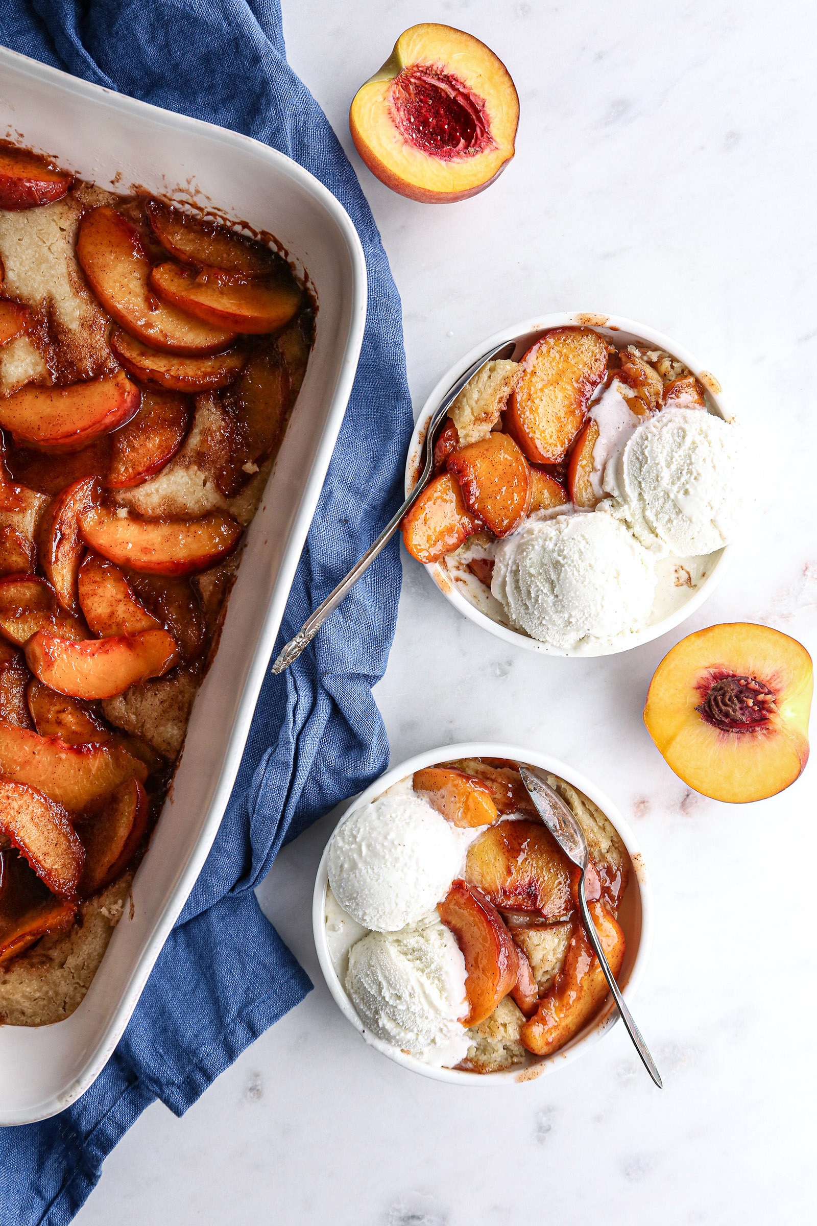 Lightly Sweetened Peach Cobbler