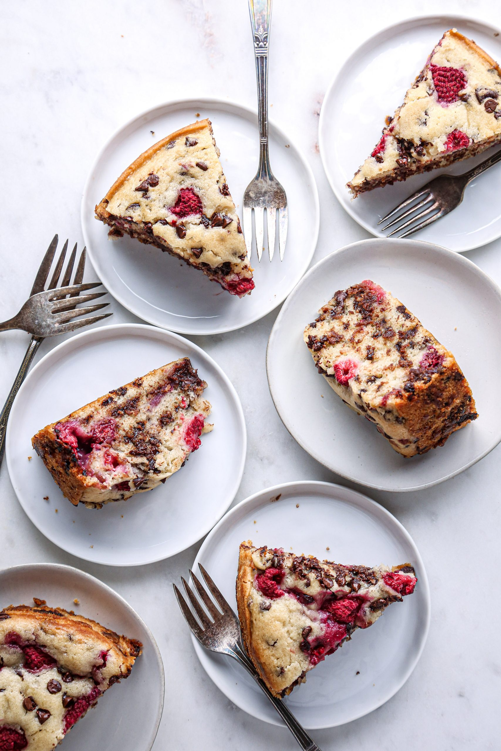 Raspberry Chocolate Chip Cake | Vegan with gluten free and refined sugar free options.