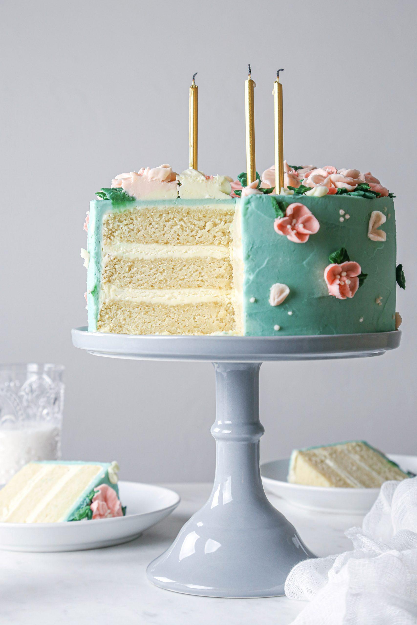 Layered Vanilla Cake with Vanilla Buttercream