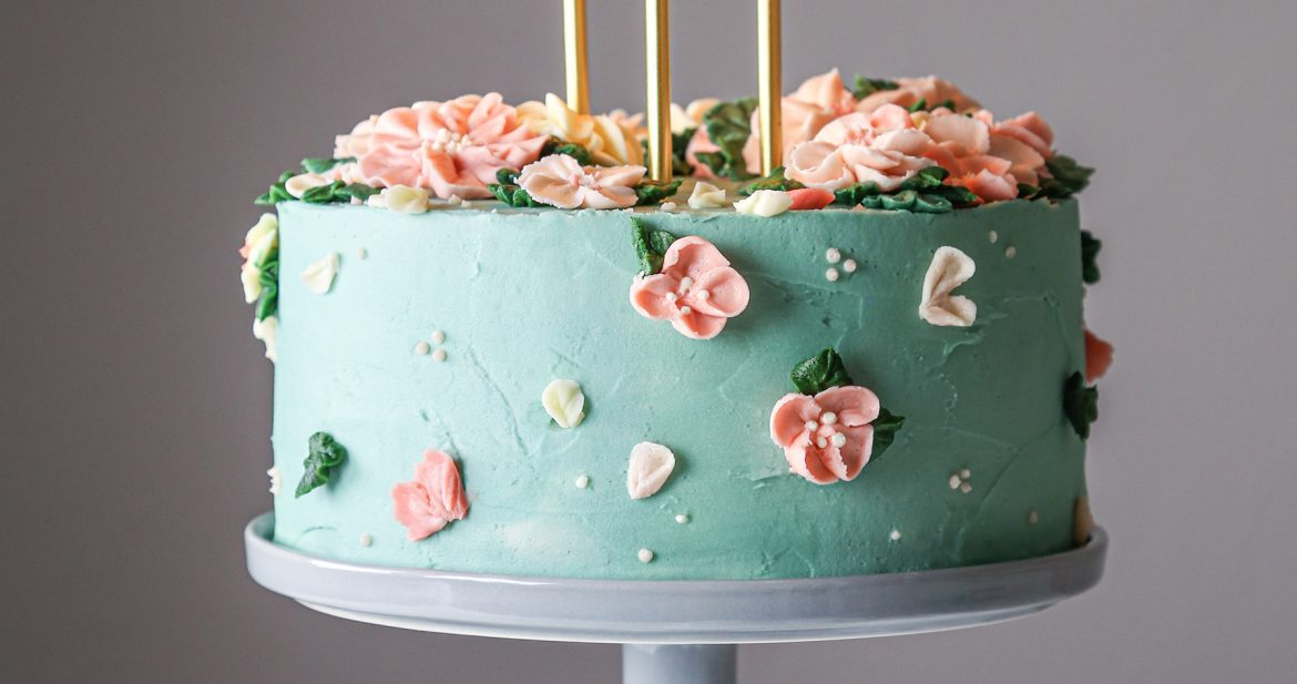 Layered Vanilla Cake With Vanilla Buttercream Wife Mama Foodie This painted buttercream beauty was inspired by @nicolettevalikoskiart and @riflepaperco.. layered vanilla cake with vanilla