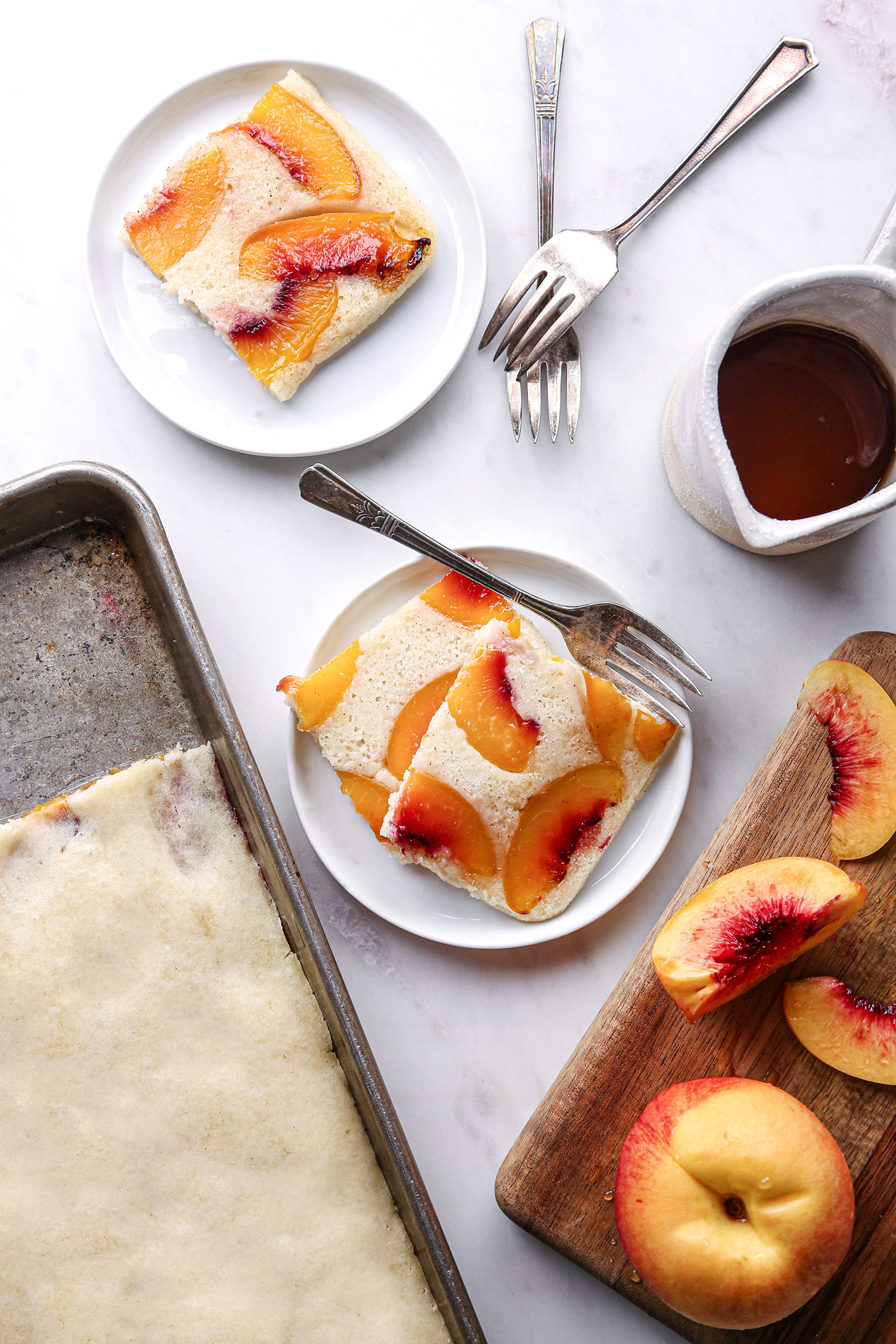 Baked Upside Down Pancakes with Fruit | Vegan with gluten free and refined sugar free option.