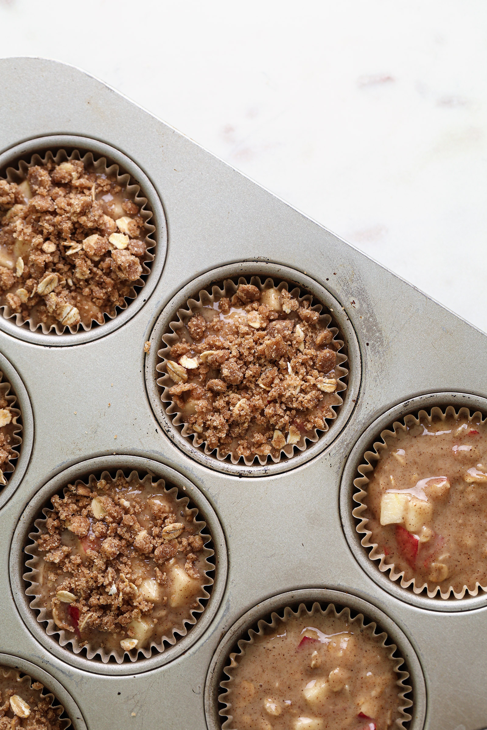 Apple Crumb Muffins | Vegan with gluten and refined sugar free options.