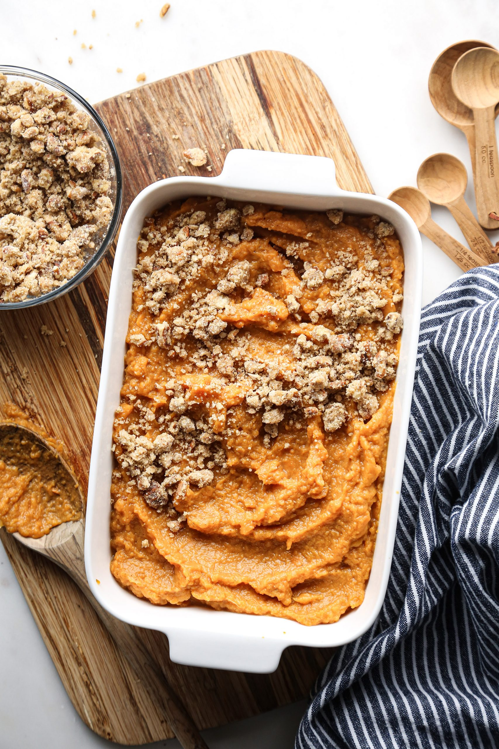 Healthier Sweet Potato Casserole | Vegan friendly with gluten, dairy, and refined sugar free options