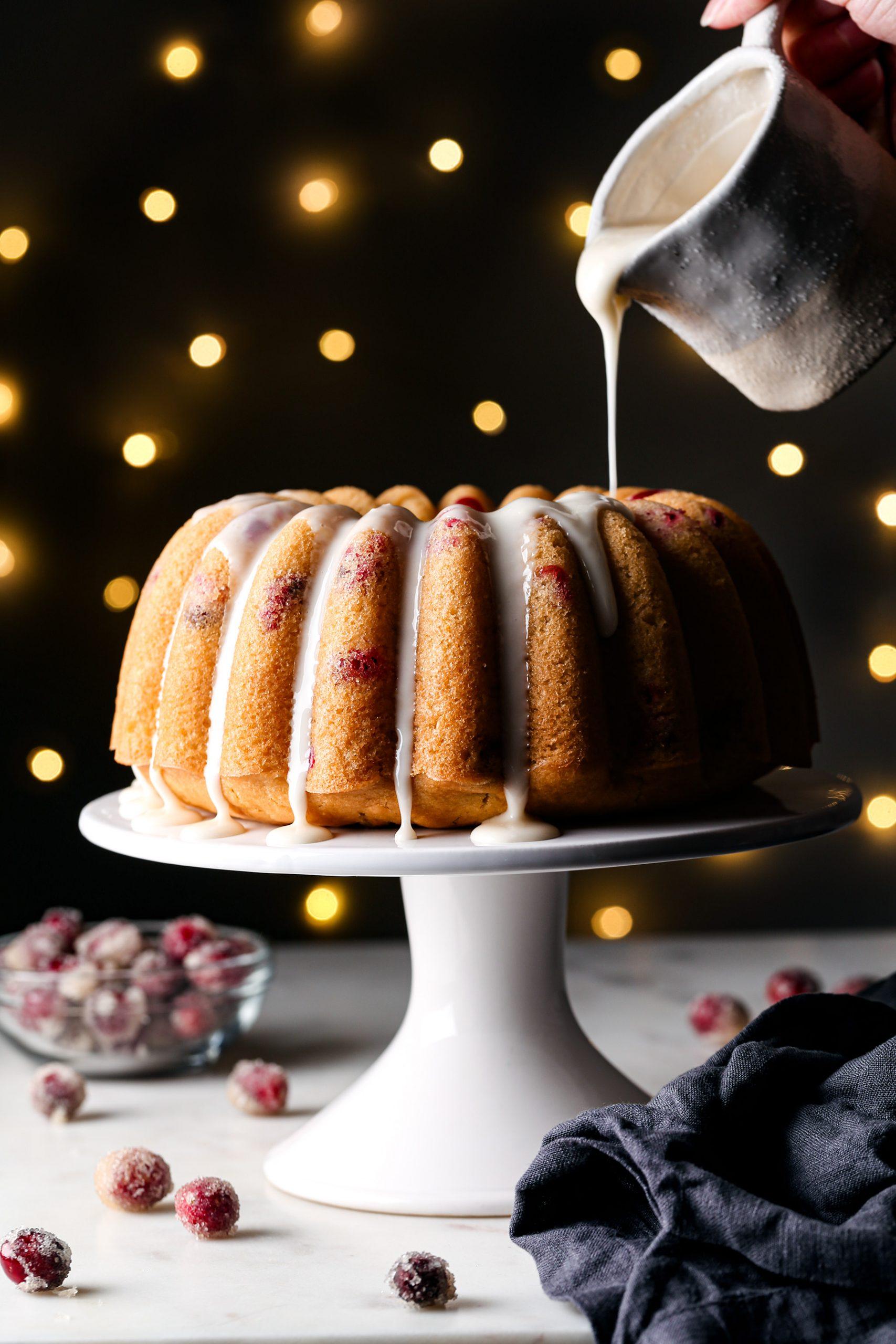 Orange Cranberry Bundt Cake | Vegan friendly with gluten free option.