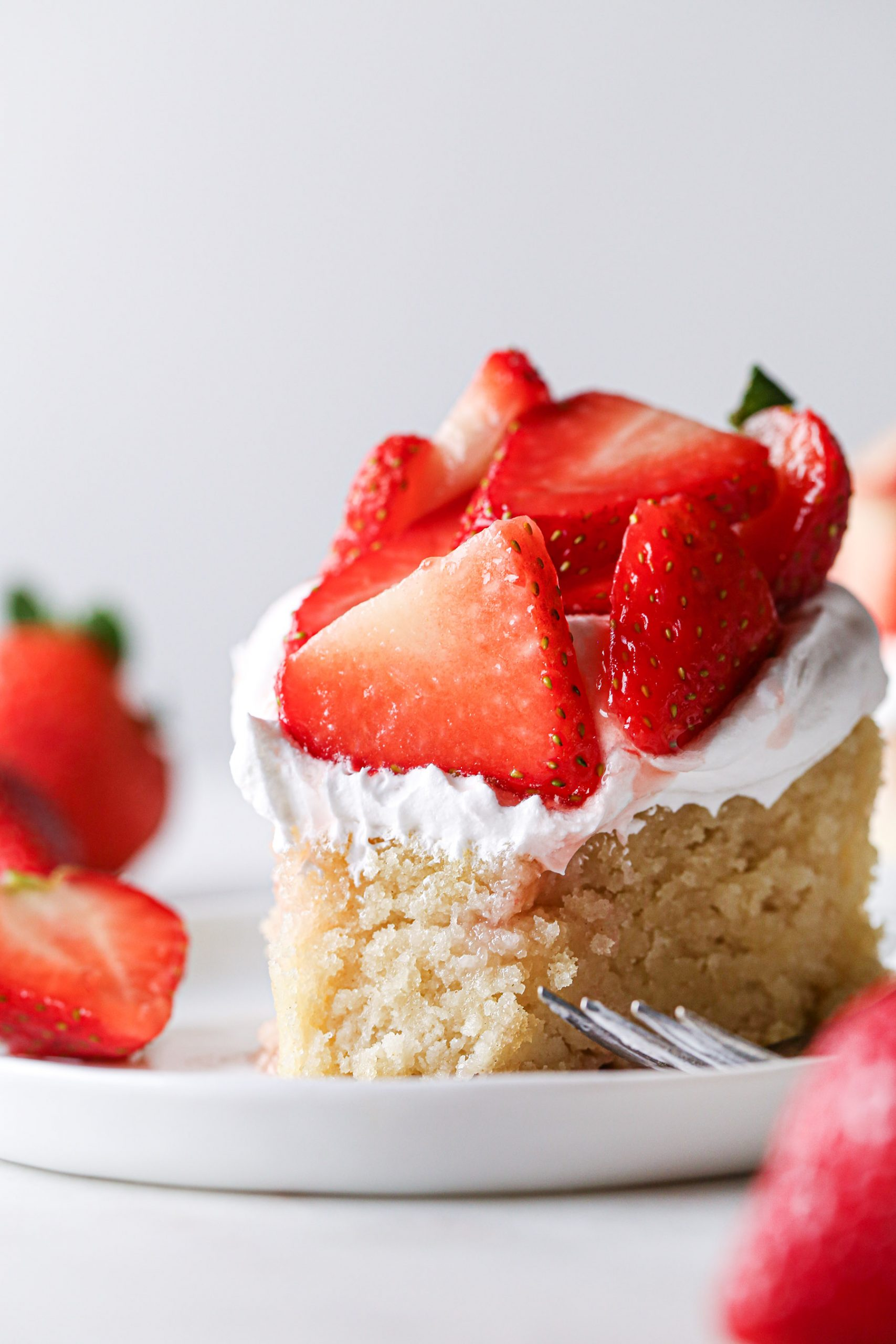 Simple Strawberry Shortcake Cake | Vegan friendly with gluten free option.