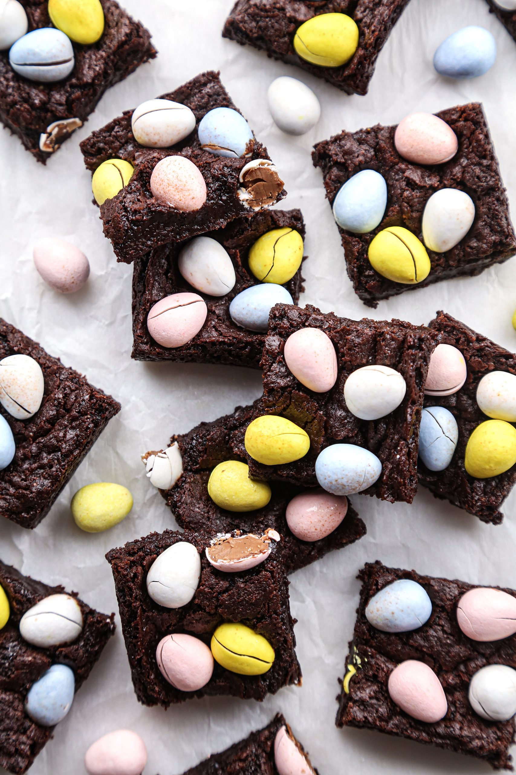 Easter Egg Brownies | Vegan friendly with gluten free option.