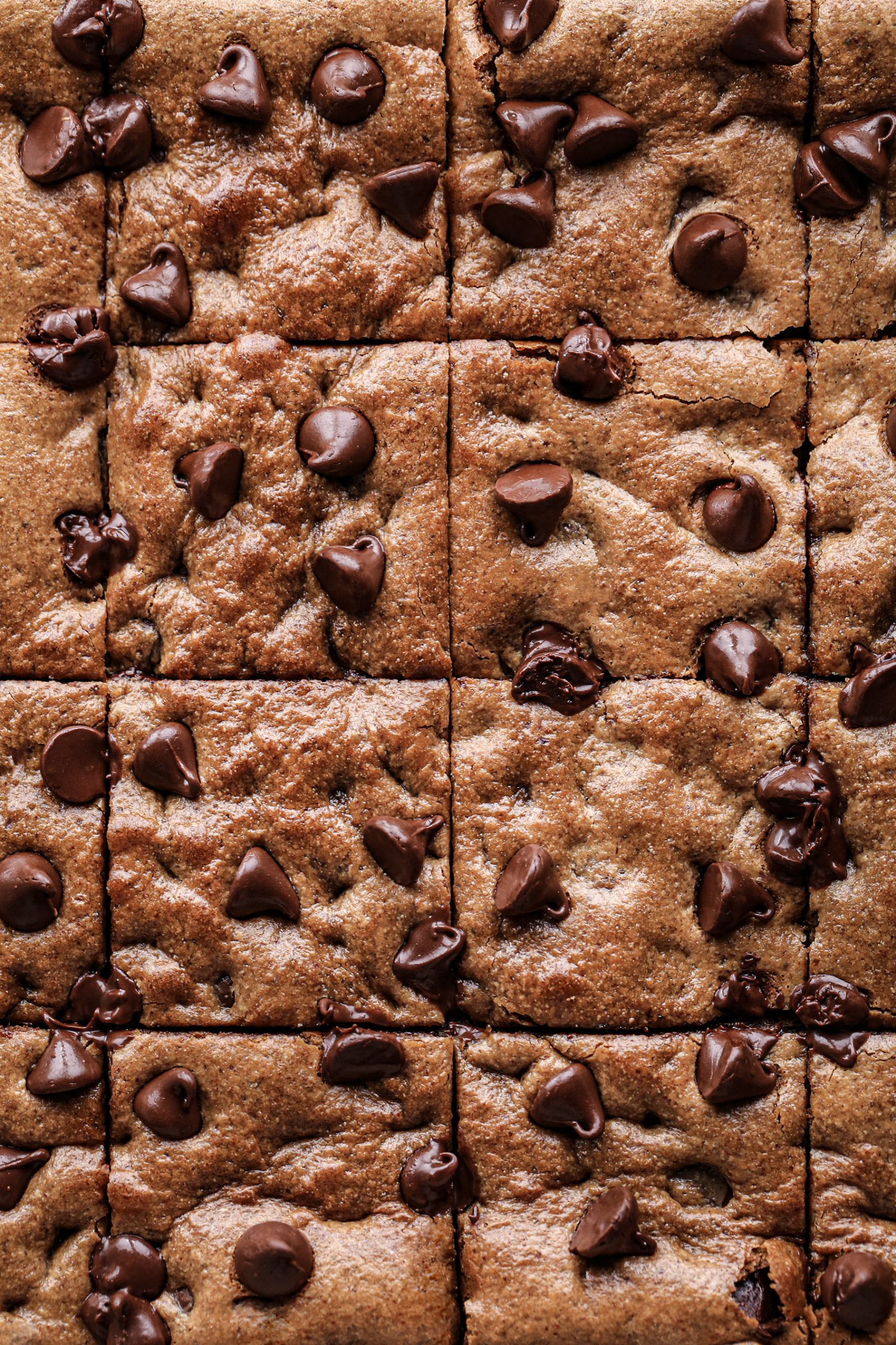 Flourless Chocolate Chip Cookie Bars | Vegan plus gluten, grain, and refined sugar free
