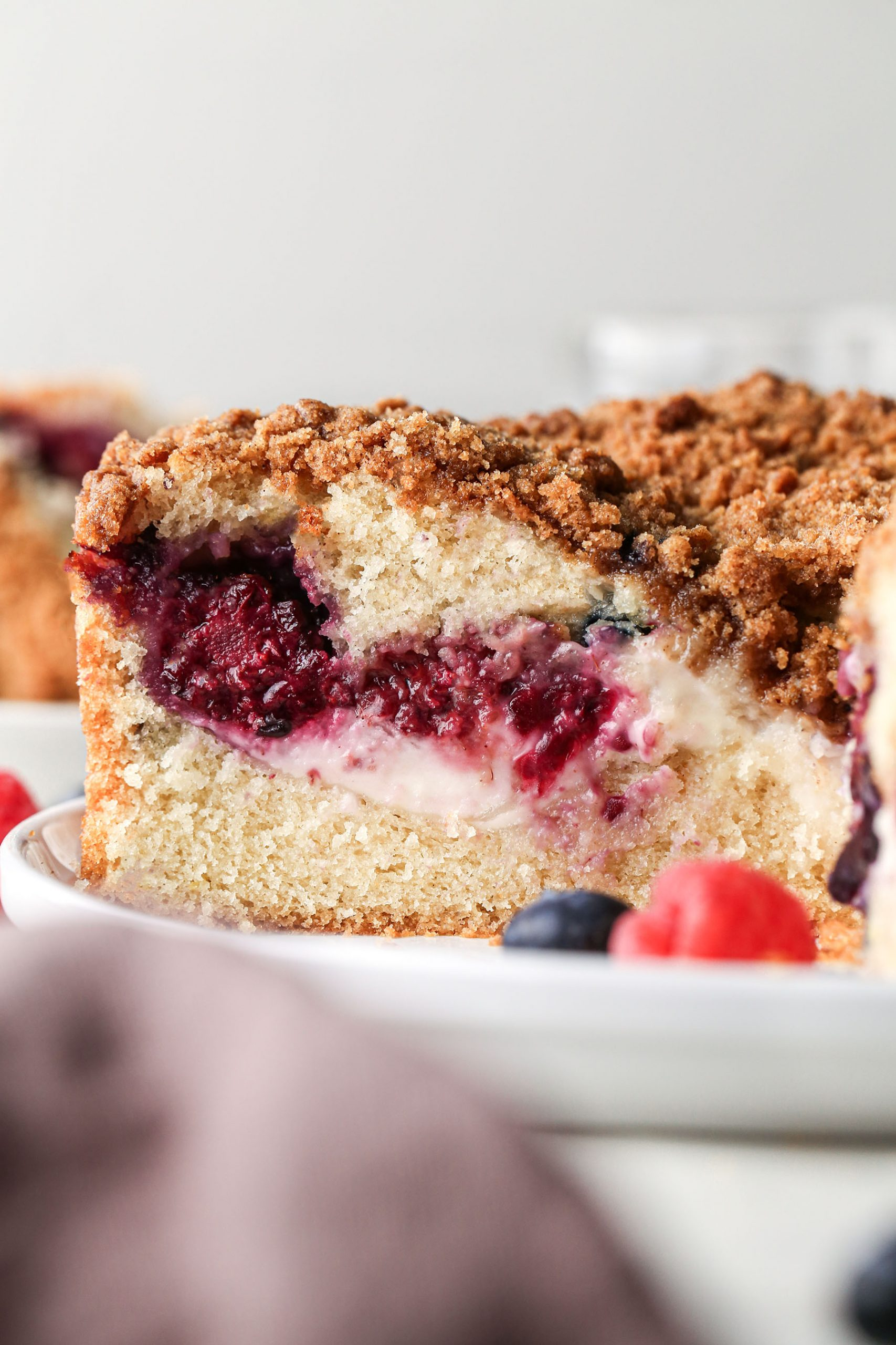 Berry Cream Cheese Coffee Cake Sliced and Up Close