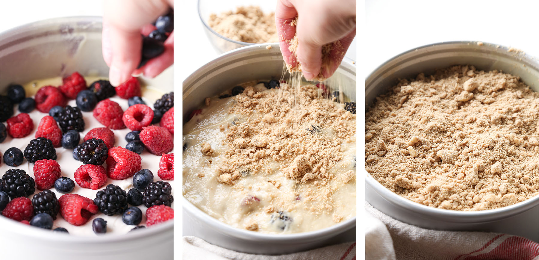 Berry Cream Cheese Coffee Cake Step by Step adding berries and crumb topping