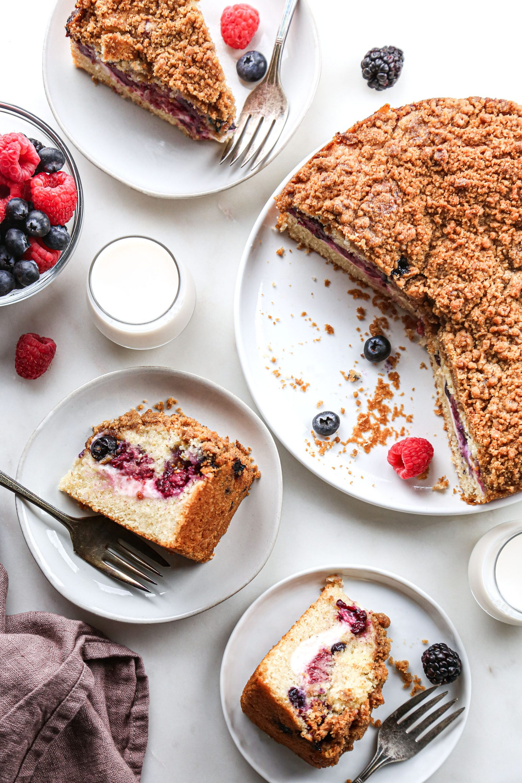 Berry Cream Cheese Coffee Cake Overhead with slices on plates