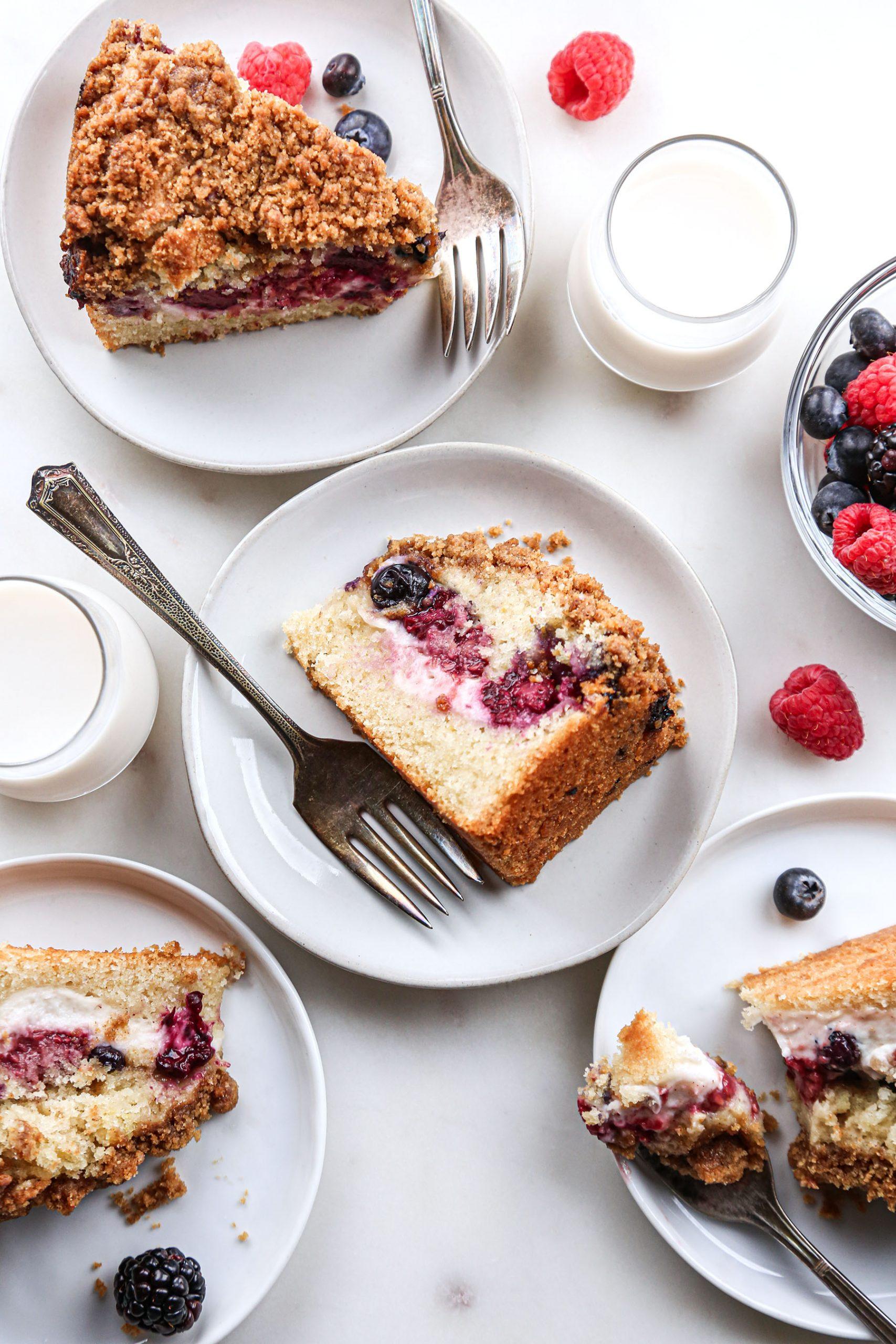 Berry Cream Cheese Coffee Cake overhead cake slices