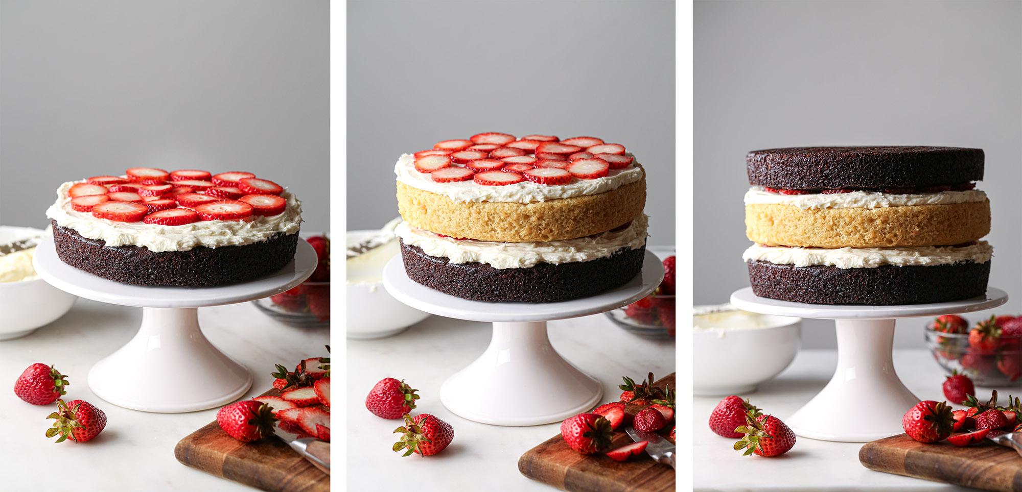 Neapolitan Cake | Chocolate and vanilla cake with vanilla buttercream and fresh strawberries