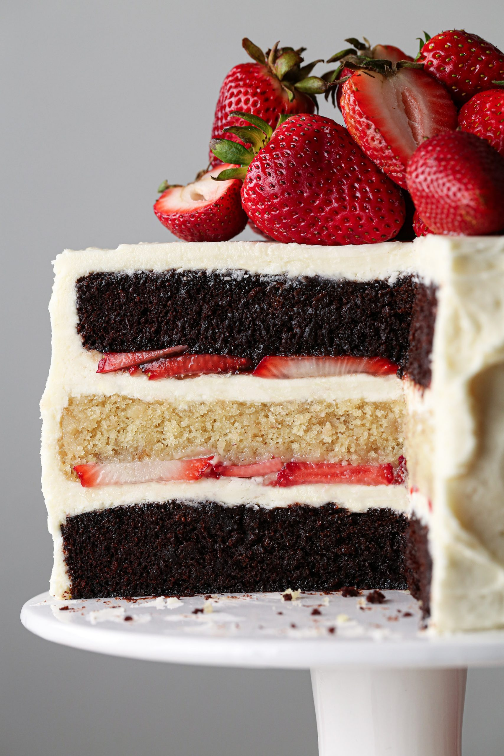 Neapolitan Cake with fresh strawberries, sliced and up close
