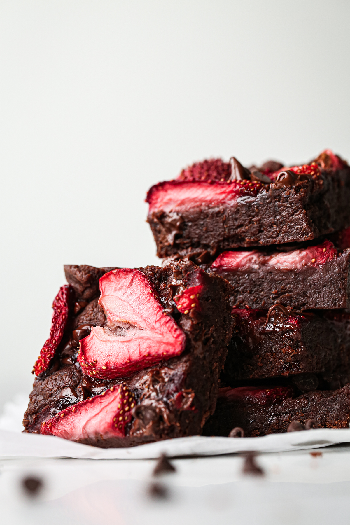 Chocolate and Strawberry Brownies Sliced