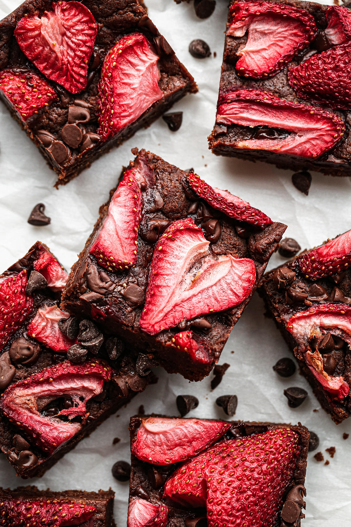 Chocolate and Strawberry Brownies Overhead
