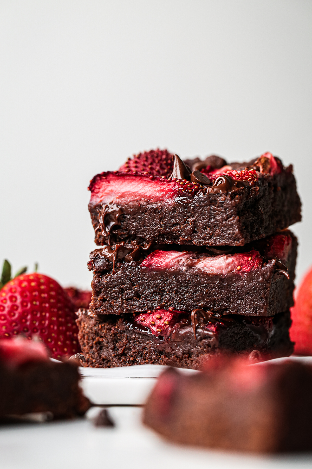 Chocolate and Strawberry Brownies Stacked