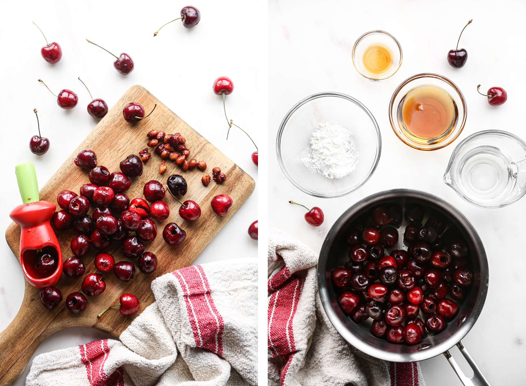 Homemade Cherry Sauce | Pitted cherries with ingredients