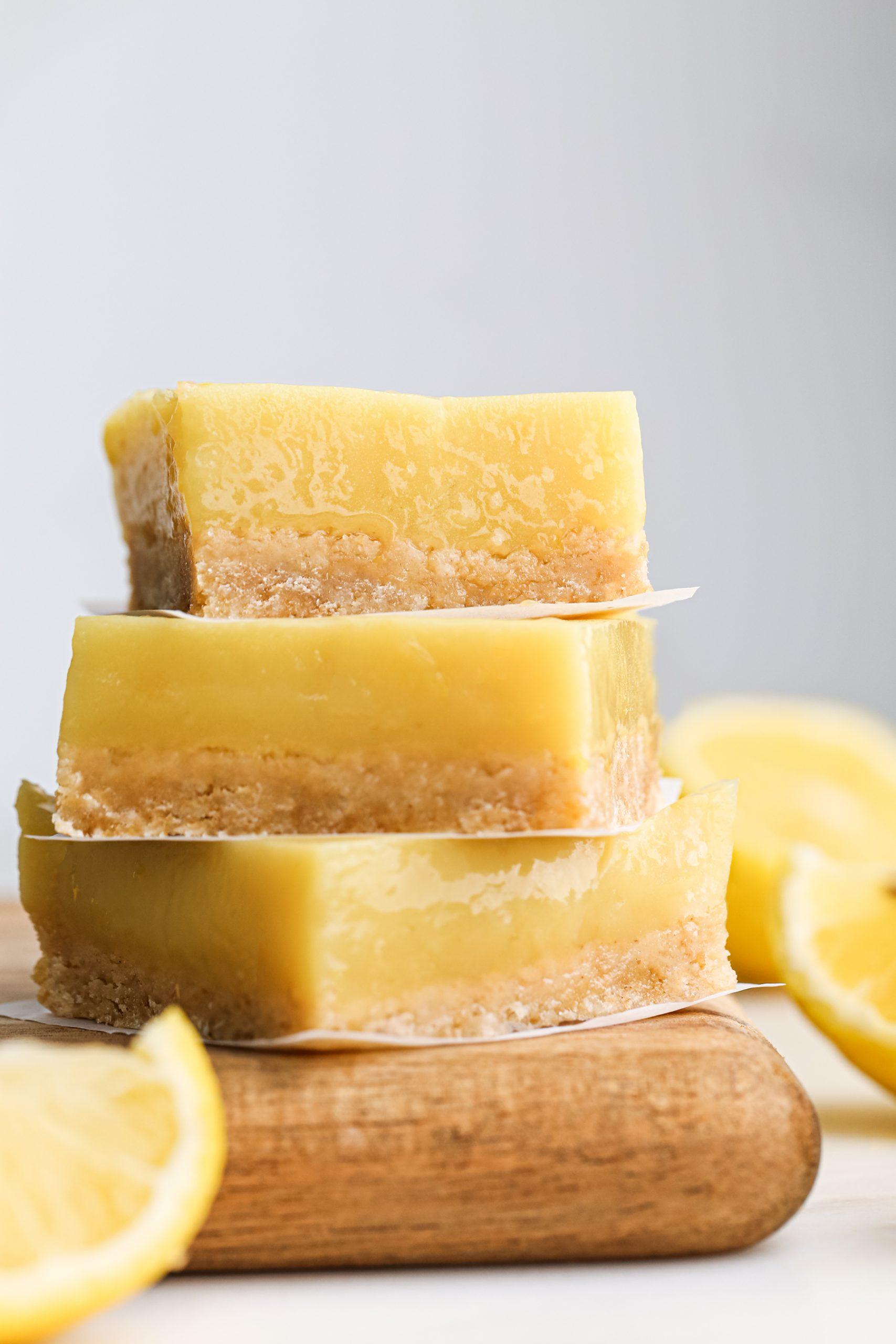 Naturally Sweetened Lemon Bars Stack