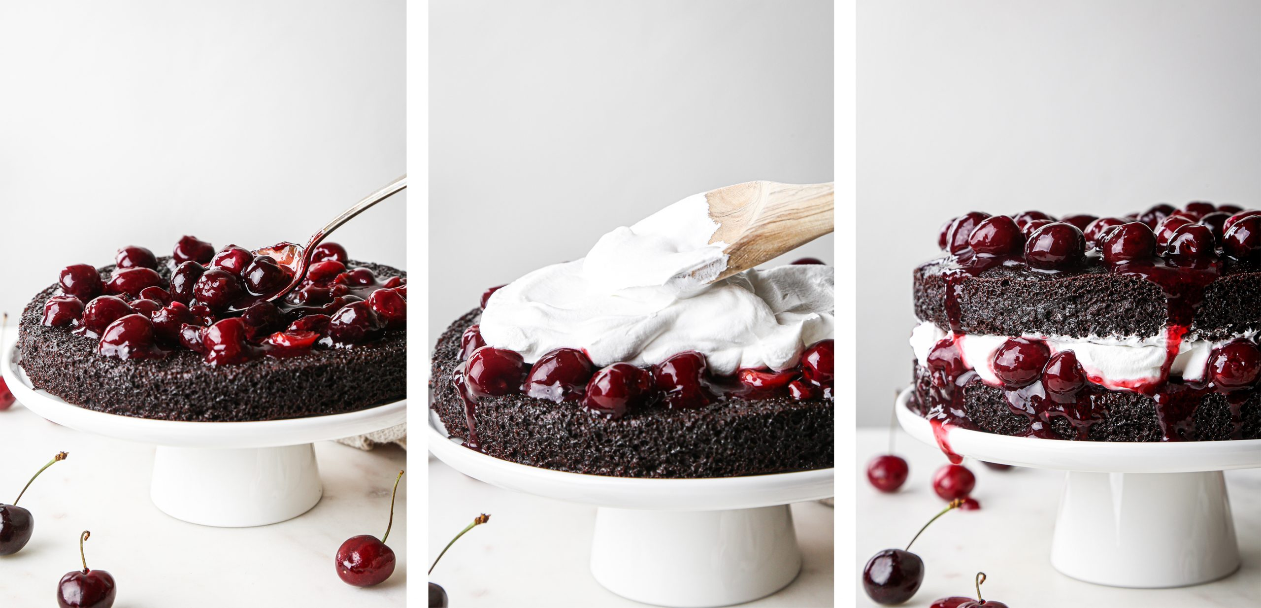 Simple Black Forest Cake Process Photos | Add cherries, top with whipped cream, and repeat