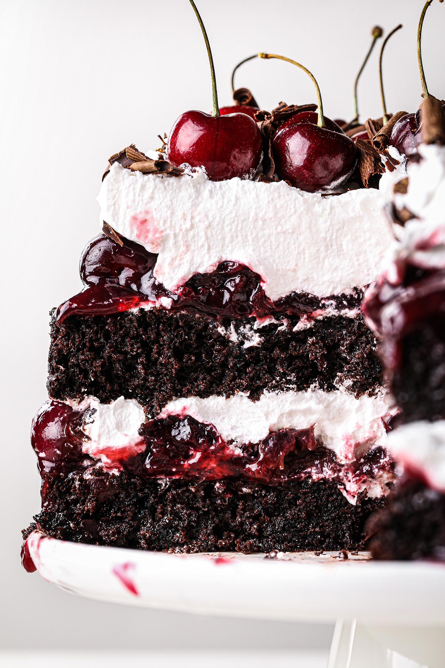 Simple Black Forest Cake Sliced