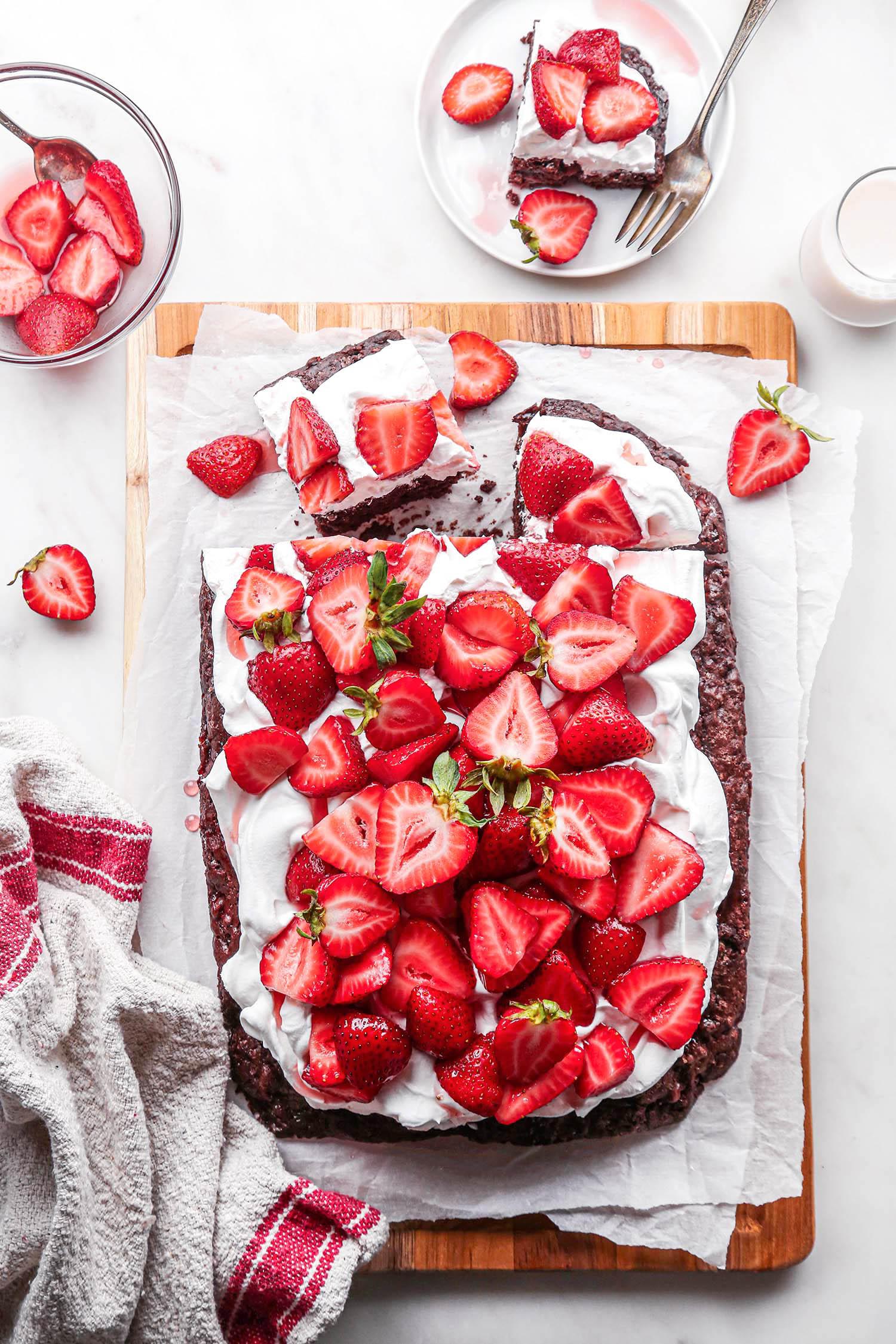 Chocolate Strawberry Shortcake Sheet Cake Sliced Overhead