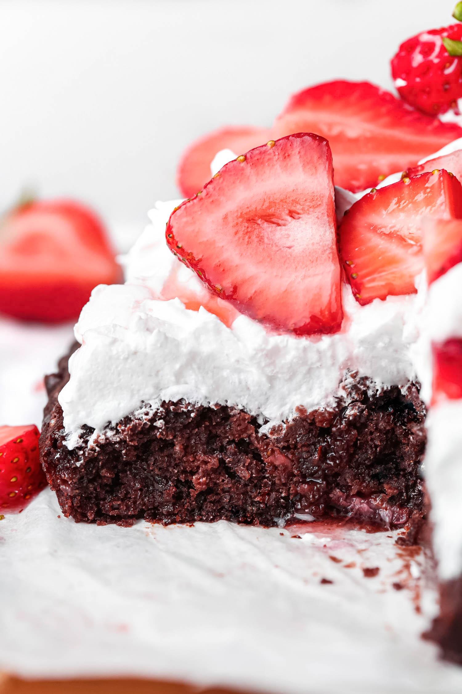 Chocolate Strawberry Shortcake Sheet Cake Sliced