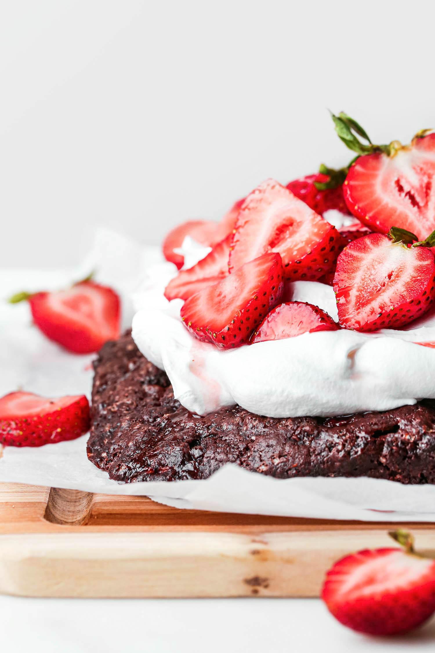 Chocolate Strawberry Shortcake Sheet Cake up close